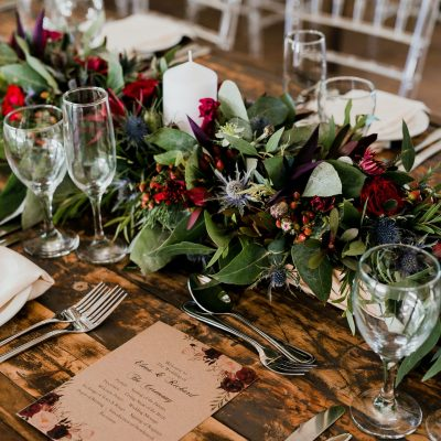 table scape with foliage