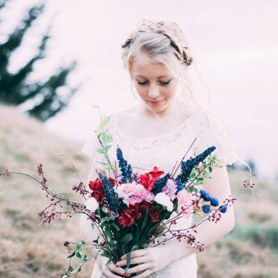 bride and floral bouquet